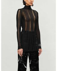 Yang Li Multicolor High-neck Striped Panelled Woven Top