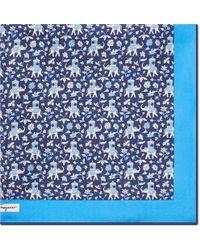 Ferragamo - Blue Carrying Elephant Silk Pocket Square for Men - Lyst