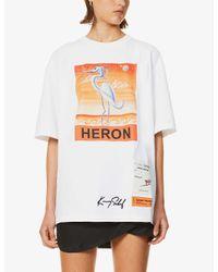 Heron Preston White Heron-print Cotton-jersey T-shirt