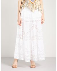 Free People White Piece Of My Heart Cotton And Lace Skirt