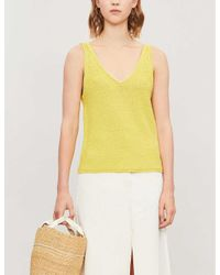 Whistles Yellow V Neck Knitted Vest Top