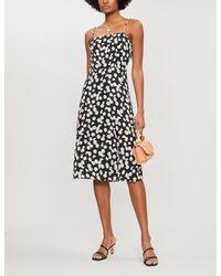 Reformation Black Peach Floral-print Crepe Midi Dress