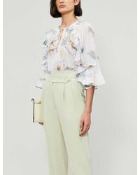 Ted Baker White Woodland Floral Ruffle Blouse