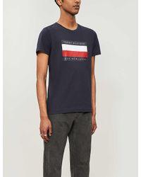Tommy Hilfiger White Logo-print Cotton-jersey T-shirt for men