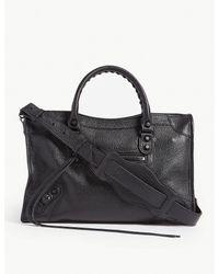 Balenciaga Ladies Black Grained City Leather Shoulder Bag