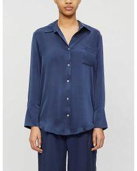Asceno Blue Milan Silk Pyjama Top