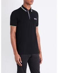 BOSS Green - Black Hugo Boss Contrast-trim Jersey Polo Shirt for Men - Lyst