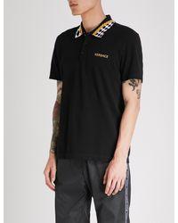 Versace Black Checked-collar Slim-fit Cotton-piqué Polo Shirt for men