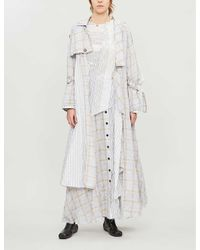 WEN PAN White Checked Striped Cotton-blend Trench Coat