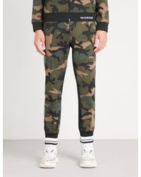 Valentino Green Camouflage-print Sports-jersey jogging Bottoms for men