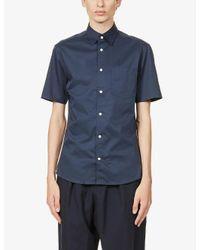 Tiger Of Sweden Blue Nitor Slim-fit Cotton-poplin Shirt for men