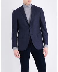 Corneliani - Blue Prince Of Wales Check Tailored-fit Wool Jacket for Men - Lyst