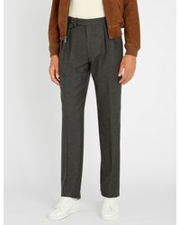Ralph Lauren Purple Label Gray Slim-fit Wool-flannel Trousers for men