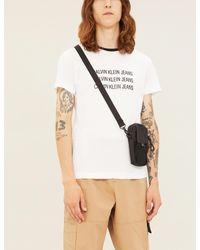 Ck Jeans White Logo-print Cotton-jersey T-shirt for men