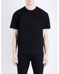 KENZO Black Tiger-embossed Neoprene T-shirt for men