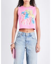 Moschino Ladies Pink Cropped My Little Pony-print Stretch-cotton Top