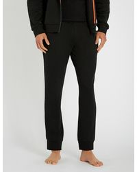 Emporio Armani Black Logo-detail Jersey jogging Bottoms for men