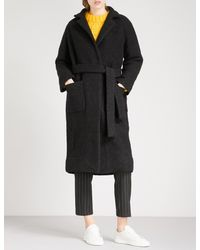 Ganni - Black Fenn Bouclé Wool-blend Wrap Coat - Lyst