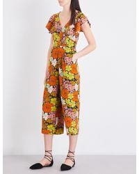 Whistles Orange Tangerine Dream Floral Silk Jumpsuit
