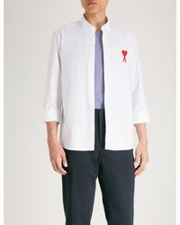 AMI White Ami De Coeur Embroidered Regular-fit Cotton-oxford Shirt for men