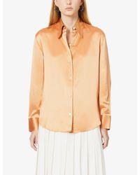 Vince Orange Point-collar Silk-satin Shirt