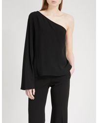 Theory Black Ruza One-shoulder Crepe Top