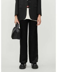 Acne Black High-rise Satin-crepe Trousers