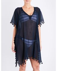 Seafolly - Blue Amnesia Tasselled Cotton Kaftan - Lyst
