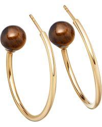 Astley Clarke - Metallic Ezra Yellow-gold Vermeil & Tigers Eye Hoop Earrings - Lyst