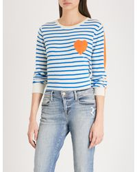 Chinti & Parker - Blue Striped Heart-intarsia Cashmere Jumper - Lyst