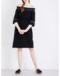 Whistles Black Embroidered Off-the-shoulder Cotton-jersey Dress