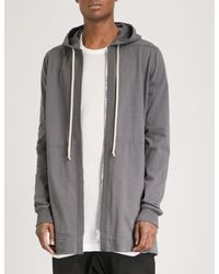 Rick Owens Gray Longline Cotton-jersey Hoody for men