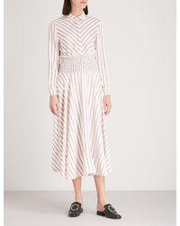 Maje Pink Smocked Waist Midi Dress