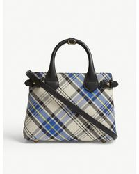 Burberry Blue Chalk White Tartan Check Banner Small And Leather Tote Bag