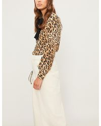 FRAME - Natural Pussy Bow Leopard-print Silk-crepe Shirt - Lyst