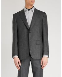 Canali Gray Tailored-fit Houndstooth Wool And Cashmere-blend Jacket for men