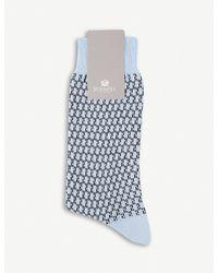 Sunspel - Blue Geometric-patterned Cotton-blend Socks - Lyst