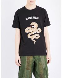 Maharishi | Black Snake-embroidered Cotton-jersey T-shirt for Men | Lyst