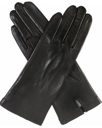 Dents Black Classic Silk-lined Leather Gloves