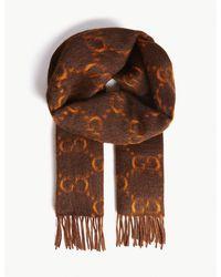 Gucci Brown GG Alpaca Wool Scarf for men