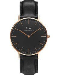 Daniel Wellington | Classic Black Sheffield Leather And Stainless Steel Watch | Lyst