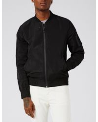 Topman Black Elton Shell Bomber Jacket for men