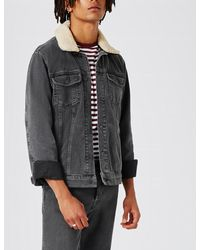 Topman Black Detachable Collar Denim Jacket for men