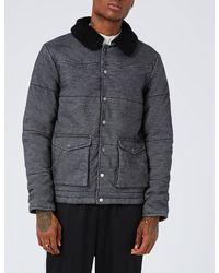 Topman Gray Leroy Denim Puffer Jacket for men