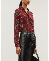 The Kooples Red Metallic Floral-print Silk-georgette Shirt