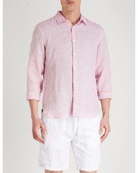 Orlebar Brown Pink Morton Tailored-fit Linen Shirt for men