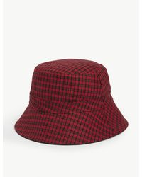 Maje Red Check Print Bucket Hat