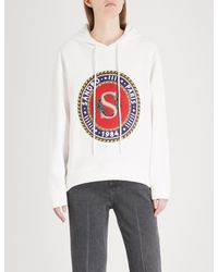 Sandro White Crest-print Cotton-blend Hoody