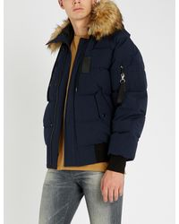 The Kooples Blue Hooded Padded Shell And Faux-fur Jacket for men