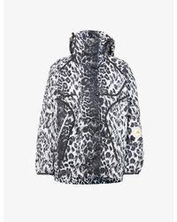 Adidas By Stella McCartney Black Truepurpose Leopard-print Recycled-polyester Jacket